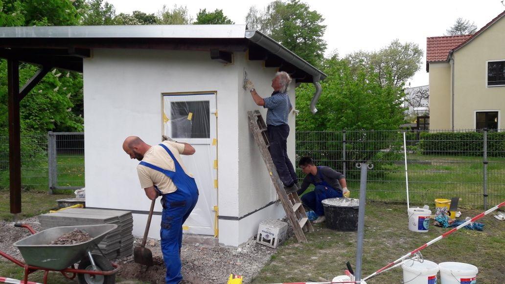 Neues aus dem Verein : das Sportplatz-Kassenhaus nimmt Konturen an