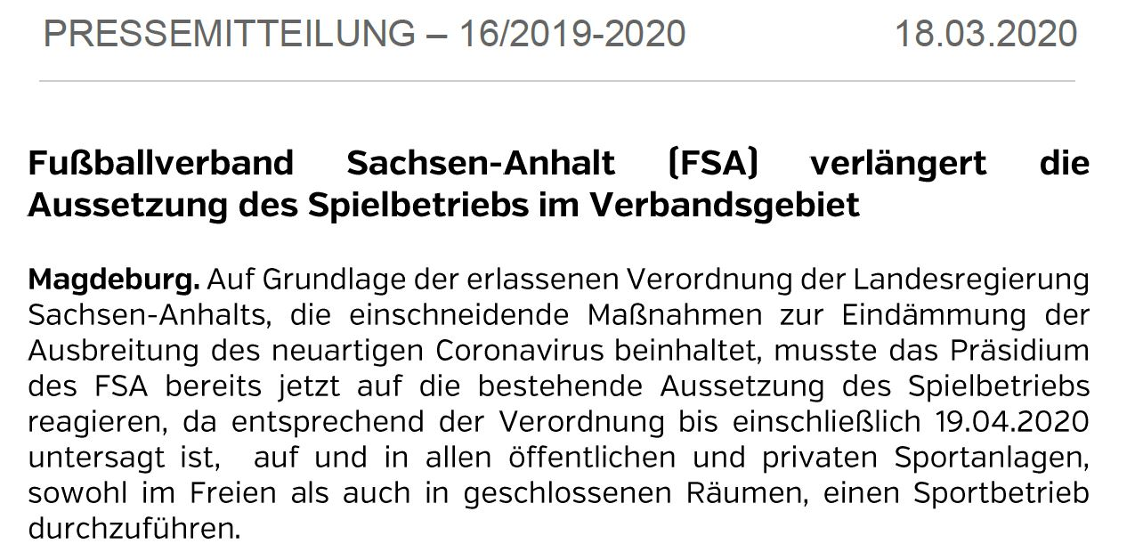Weiterhin KEINE Spiele im Land Sachsen-Anhalt  !!!