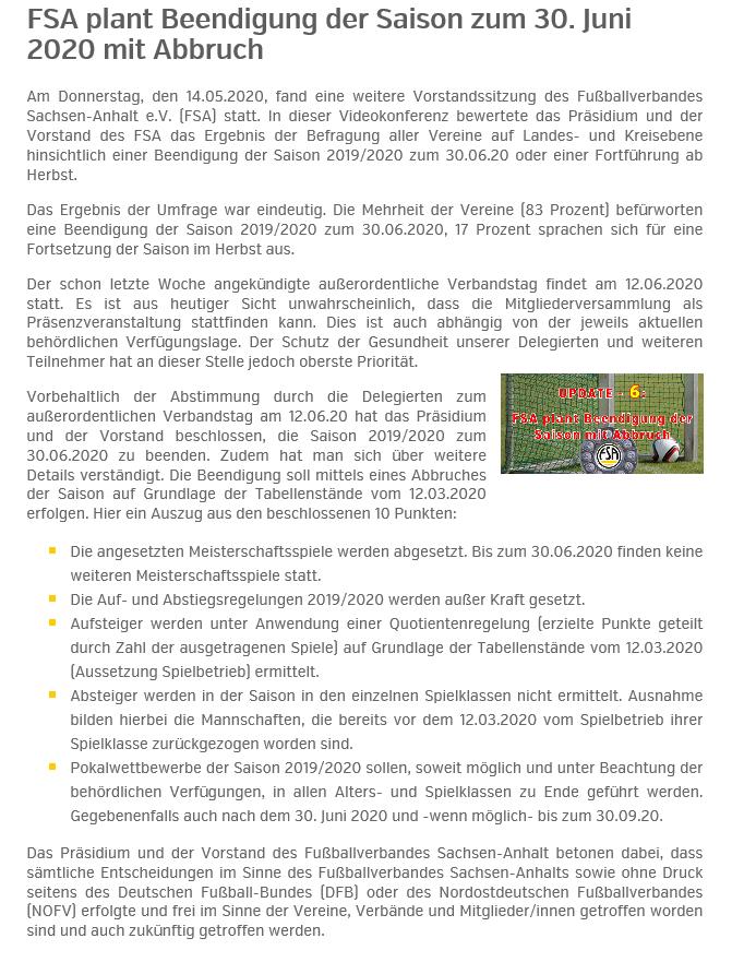 FSA plant Abbruch der Saison 19/20